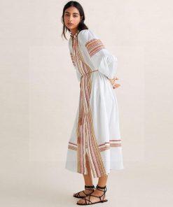 Bohème langes weißes Kleid